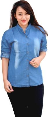 Aarti Collections Women's Self Design Formal Denim Light Blue Shirt