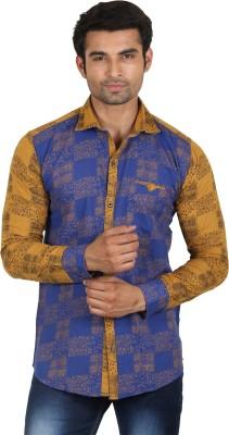 Swiss Culture Men's Printed Casual Yellow, Blue Shirt