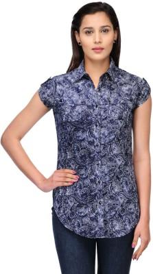Fashion Cult Women's Printed Casual Blue, White Shirt