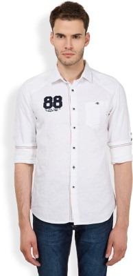 The Indian Garage Co. Men,s Self Design Casual White Shirt