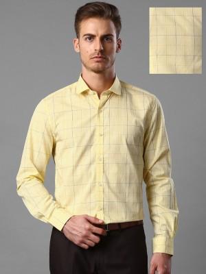 Invictus Men's Checkered Formal Yellow Shirt
