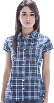 Peppermint Blues Women's Checkered Casual Dark Blue Shirt