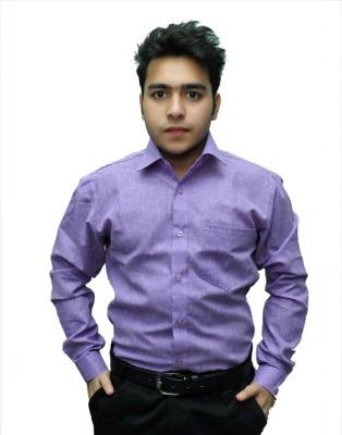 Fashion Tree Men's Solid Formal Purple Shirt