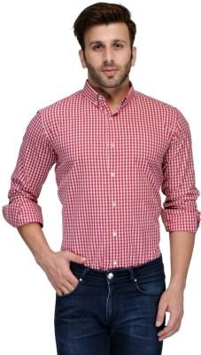 Edjoe Men's Checkered Casual Red Shirt