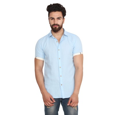 Yellow Tree Men's Solid Casual Linen Light Blue Shirt