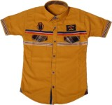 Way2Style Boys Solid Casual Yellow Shirt