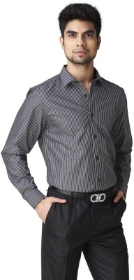 Warewell Men's Striped Formal Black Shirt