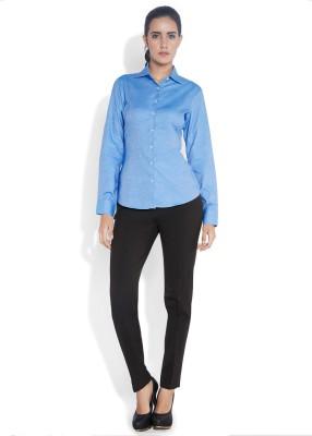 Park Avenue Women,s Solid Formal Blue Shirt