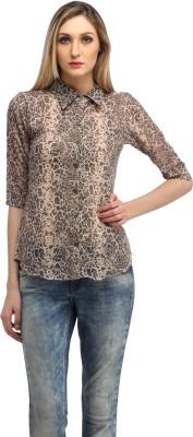 Cation Women's Animal Print Casual Grey Shirt