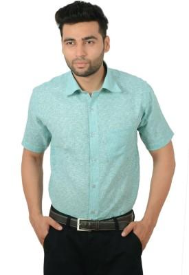 Studio Nexx Men's Woven, Checkered Formal Green Shirt