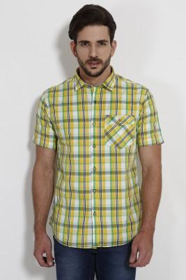 SIN Men's Checkered Casual Yellow Shirt