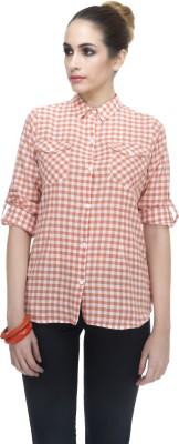 Zaivaa Women's Checkered Formal Orange Shirt