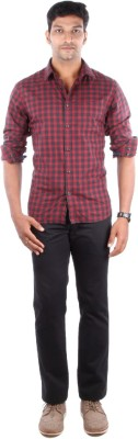 Indian Terrain Men's Checkered Casual Purple Shirt