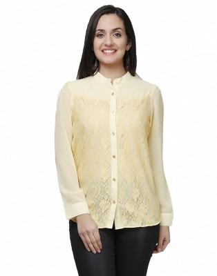 Eavan Women's Self Design Casual Yellow Shirt