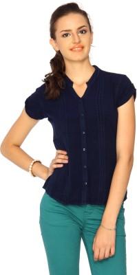 IDENTITI Women's Self Design Casual Dark Blue Shirt