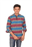 Suzee Men's Striped Casual Blue, Red Shi...