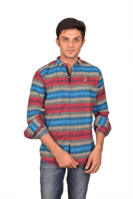 Suzee Men's Striped Casual Blue, Red Shirt