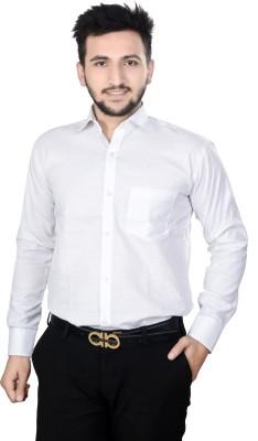 Dunley Lewis Men's Solid Formal White Shirt