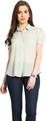 Global Colours Women's Solid Casual Green Shirt