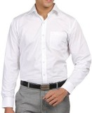 Brandx Men's Solid Formal White Shirt