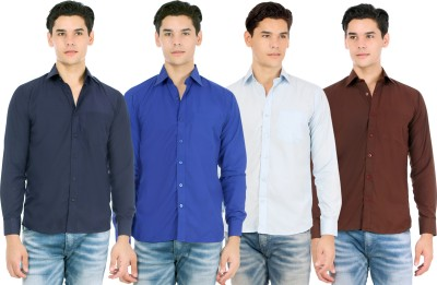 Atmosphere Men's Solid Formal Blue, Dark Blue, Light Blue, Brown Shirt