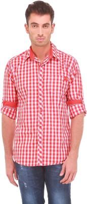 Sleek Line Men's Checkered Casual, Party, Festive, Wedding Orange Shirt