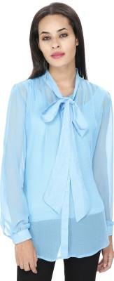 Ragdoll Women's Solid Casual Light Blue Shirt