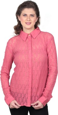 House Of Fett Women's Self Design Formal Pink Shirt