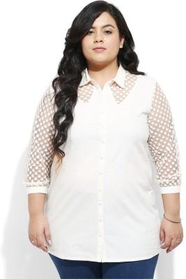 Amydus Women's Self Design Casual Beige Shirt
