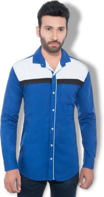 One Sphere Men's Self Design Casual Blue Shirt