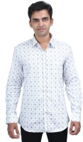 Scissors Formal Shirts (Men's) - Scissor's Men's Geometric Print Formal White Shirt