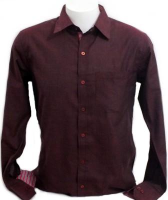 Mens World Men's Solid Formal, Wedding, Party, Festive Maroon Shirt