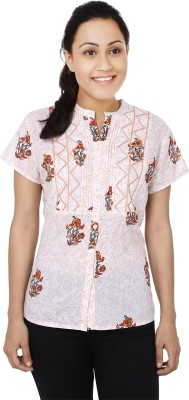 Samprada Women,s Printed Casual White, Beige Shirt