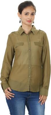 MadeinMyIndia Women's Solid Casual Green Shirt