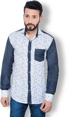 One Sphere Men's Printed Casual White Shirt