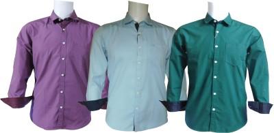 Ardeur Men's Solid Casual Purple, Light Blue, Dark Green Shirt