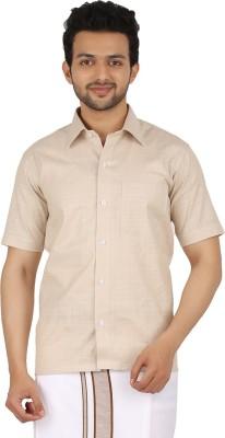Prakasam Cotton Men's Self Design Casual, Festive, Formal, Party, Wedding Beige Shirt
