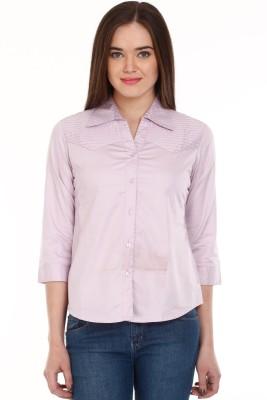Mustard Women's Solid Casual Purple Shirt