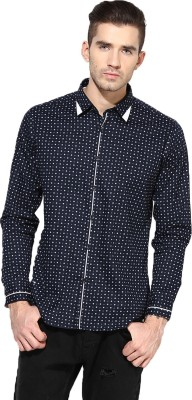MONTEIL & MUNERO Men's Printed Casual Dark Blue Shirt