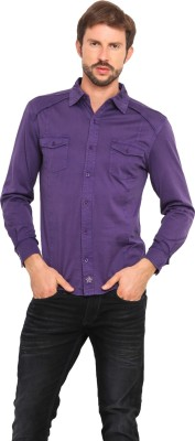 Smokestack Men's Solid Casual Purple Shirt