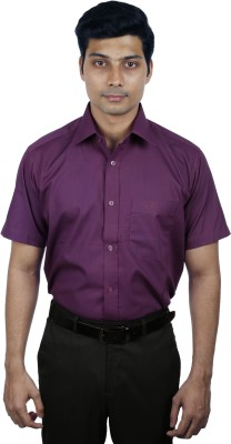 Nerellaas Men's Solid Formal Purple Shirt