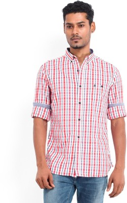 French Connection Men's Checkered Casual White Shirt