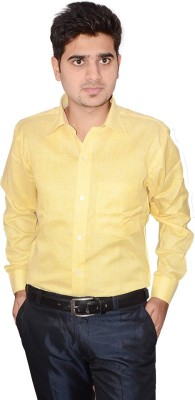 Indocity Men's Solid Formal Yellow, Yellow Shirt