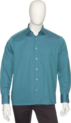 Cotton Natural Men's Solid Formal Green Shirt