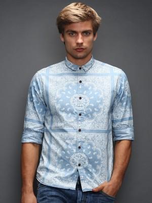 HRX by Hrithik Roshan Men's Printed Casual Blue Shirt