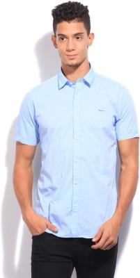 Pepe Jeans Men's Printed Formal Blue Shirt