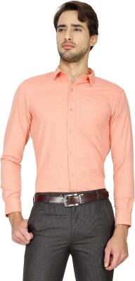 Cotton Power Men's Solid Formal Orange Shirt