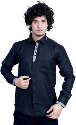 Bucci Men's Solid Party Black Shirt