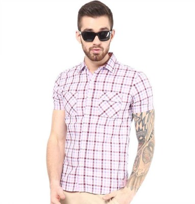 American Swan Men's Checkered Casual Red Shirt