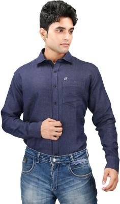 Relish Men's Solid Formal Dark Blue, Dark Green Shirt